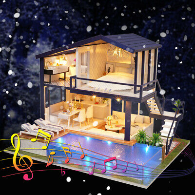 DIY Dollhouse Wooden Doll House Miniature With Furnitures LED Light Music