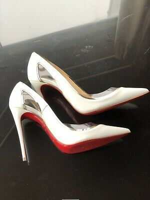 7d41903590 Christian Louboutin Clear Vinyl and White Patent Cosmo Heel Pumps Size 37