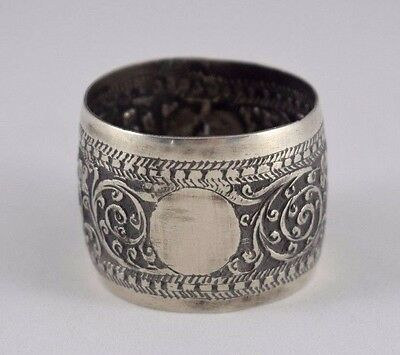 Vintage Solid Silver Napkin Ring Chased Work From Ceylon