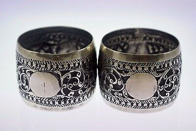 Vintage Solid Silver Pair Of Napkin Ring Chased Work From Ceylon 54 Grams