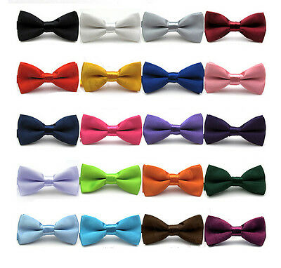 Adjustable Girls Children kids Solid Bowtie Pre Tied Wedding Party Satin Bow Tie