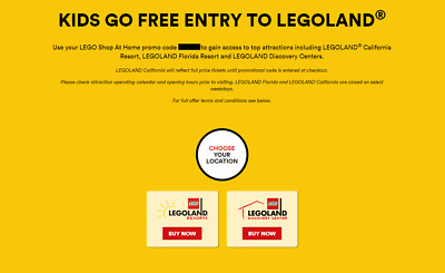 LEGOLAND Kids Go Free w/ Paid Adult California OR Florida OR Discovery Center