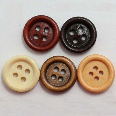 10-100Pcs Wooden 4 Holes Round Wood Sewing Buttons Craft Scrapbooking 15mm AU
