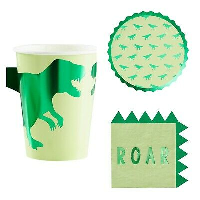 Dinosaur Roar Birthday Party Cups, Plates & Napkins Party Set For 8