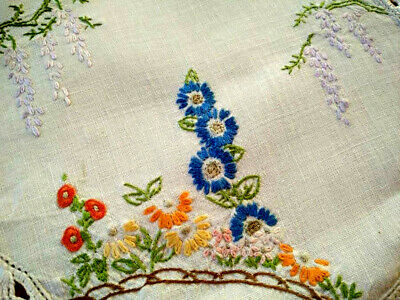 Lovely Cottage Garden/Wisteria Tree  Vintage Hand Embroidered Doily