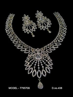 Bollywood Style Gold Plated CZ & Citrine Necklace Set # 95706