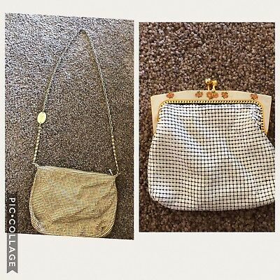 Two Vintage Park Lane - White Coin Purse & Cream Soft Bag With Long Strap