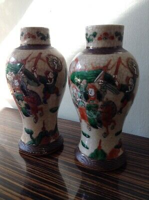 2 Antique Vintage Hand Painted Vases Battle Japanese Chinese Oriental Urns Pair