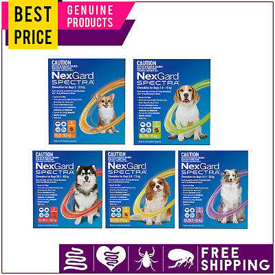 NEXGARD SPECTRA for Dogs 3 Doses All Sizes Heartworm Worm and Flea Tick Control