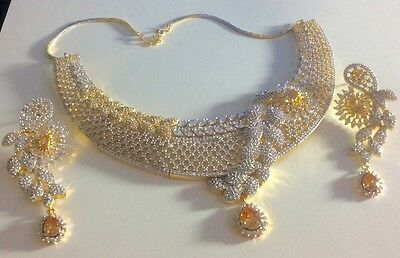 Bollywood Style Gold Plated CZ & Citrine Necklace Set#95964