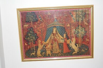 Vintage french silk & wool tapestry print of the 15th Century A:MON:SEUL:DESIR