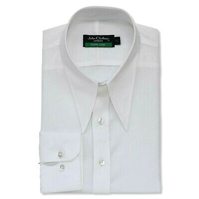Vintage shirt Spear point collar Mens White Floral Jacquard Classic fit Gents