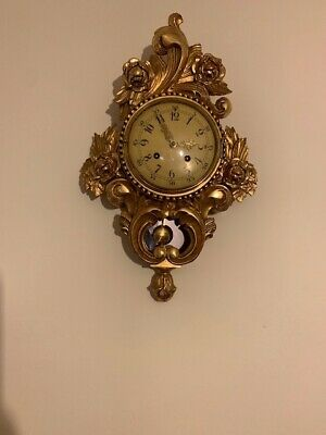 Antique Swedish Gilt and hand carved wood wall clock