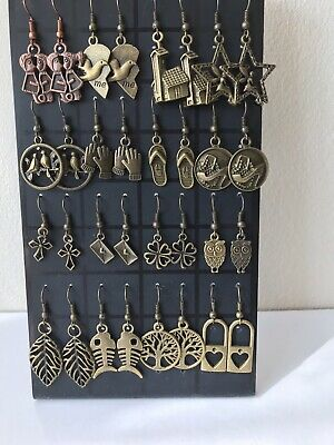 32 pairs MIXED CHARM EARRINGS  With Display handmade wholesale job lot jewellery