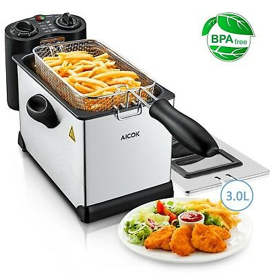 Deep Fat Fryer 3L, Stainless Steel Oil Fryer with Timer and Temperature Control