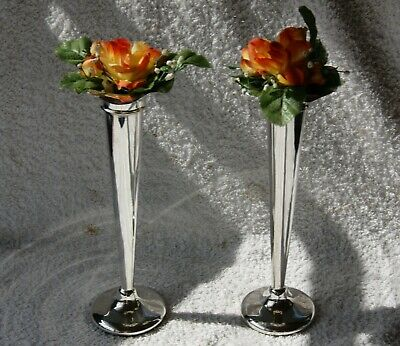 large pair Vintage sliver plated rose bud vases beautiful  shape & design
