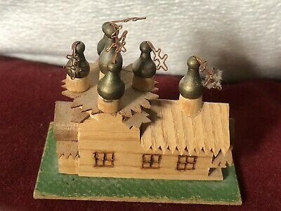 Superb Miniature Carved Wooden Spired Church Highly Detailed Russian (?)