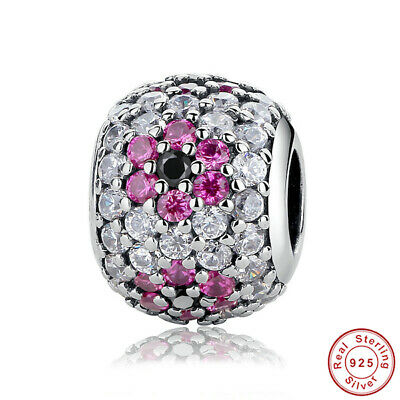 New Authentic Pandora Charm Sterling Silver Red China Flower CRYSTAL