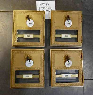 Vintage / antique 4 MAILBOX  LOCKING DOORS   POST OFFICE / BANK  (LOT A)