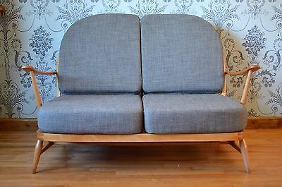 Ercol Windsor 203/2 Seat Compact Sofa - Restored & Upholstered In Soft Grey