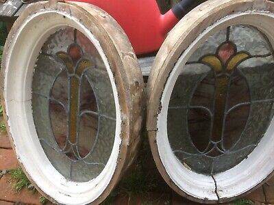 Pair Of Stained Glass Porthole Windows