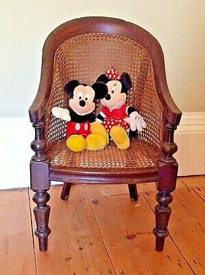 Antique Victorian Childs Bergere Chair on turned legs  Dolls / Teddies