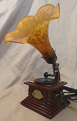 Customized RCA Victor Phonograph Gramophone Tiffany Style Accent Lamp Glass