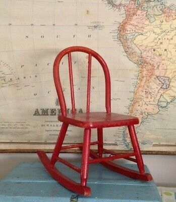 Vtg Childs Rocking Chair Red Wood Wooden Primitive Farmhouse Toy Doll Display