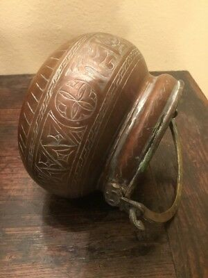 Antique Embossed Copper Pot Round bottom Hand Hammered Cairoware
