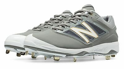 d08531322 New Balance Low-Cut 4040V3 Metal Baseball Cleat Mens Shoes Grey And White