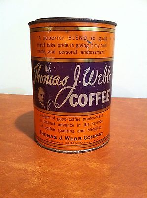 Antique Vintage Advertising Thomas J. Webb Steel Cut Coffee Tin c. 1920s