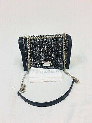 a4505b78aaa7d0 NWT MICHAEL KORS Tweed Whitney Large Shoulder Leather Bag Black $298 ...