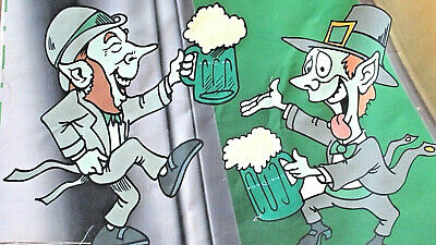 "AS IS 102"" x 36"" Leprechauns BUD LIGHT DRAFT Beer HAPPY ST. PATRICK'S DAY Banner"
