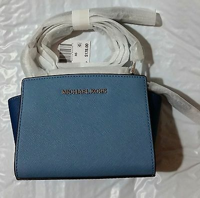 d21f26ca5871b Michael Kors Selma Mini Saffiano Leather Crossbody Bag (Sky Steel Blue Navy