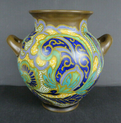 Jugendstil Art Déco Keramikvase Gouda PZH Dekor Breetvelt 1912 * Made in Holland