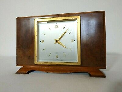 Vintage Mantle Wind Up Elliot Art Deco Clock, Wooden Case, Working