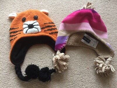 Childs Hats Knitted Orange Woolly Tiger & Baby Gap Pink Strips M:L