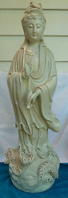 Antique Chinese Quan Yin Statue / 2 1/3Ft Porcelain / Goddess Of Mercy - Kwan