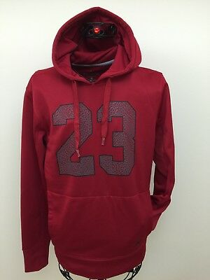c886a2c49559e6 Michael JORDAN Men`s Size S Taining 23 THERMA-FIT Red Gray Pollover Hoodie