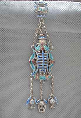 Antique Chinese  Silver & Enamel Hand-Carved Bat Pendant 21.5g