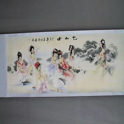 Chinese Old Antique Hand painting scroll Beauty Seven fairies