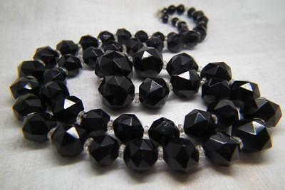 Gorgeous Antique Victorian Mourning Faceted Whitby Jet Bead Necklace 70g