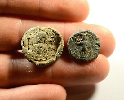 Ancient Byzantine Period Lead Seal Stamp - Lot Of 2