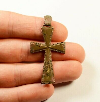 Interesting Post Medieval Bronze Cross - Decorated - Wearable