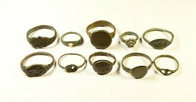 Lot Of 10 Roman / Post Medieval Decorated Wearable Rings - Great Artifacts