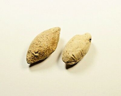 Ancient Greek Military Lead Sling Bullet Shot - LOT OF 2 / 72 grams