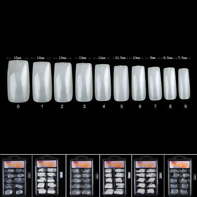 100Pcs Long Nail Art Tips Coffin Shape Full Cover False Ballerina Nail Manicure
