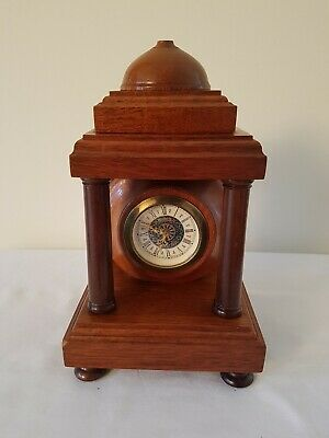 Vintage Mantel Clock Wind-up Mechanical Made in West Germany Mahogany