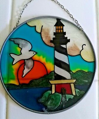 "Sun Catcher  Hand Painted Glass  - 4.5"" in diameter"