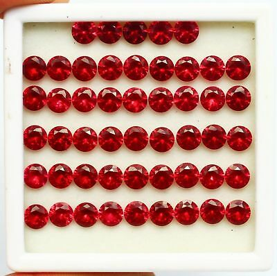 150 Ct GGL Certified Natural Brilliant Round Cut Red Ruby Gems Lot RIng Size